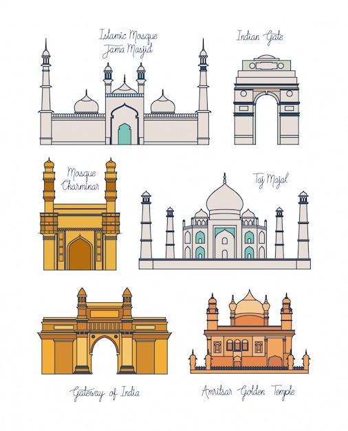Arquitetura indiana de templos Vetor grátis