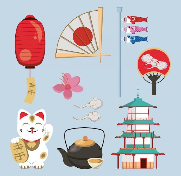 Arquitetura japonesa e elementos Vetor Premium