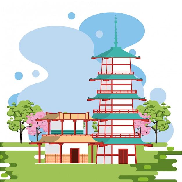Arquitetura japonesa na natureza Vetor Premium