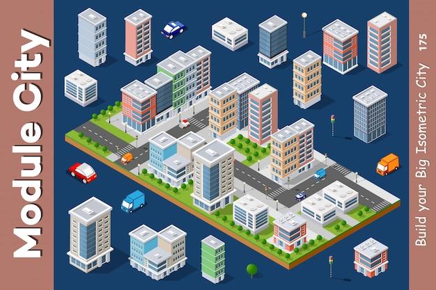 Arquitetura urbana isométrica de vetor Vetor Premium