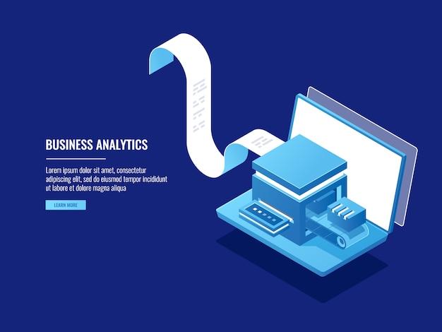 Arquivamento de dados, informações bloks, armazenamento em nuvem, conceito de arquivamento eletrônico, laptop Vetor grátis