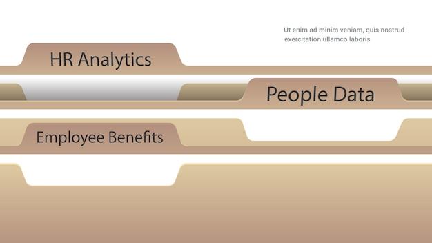 Arquivo de pastas de registro com benefícios para funcionários análise de rh e documentos de dados de pessoas, cartões de índice, cópia horizontal, espaço, vetorial, ilustração Vetor Premium