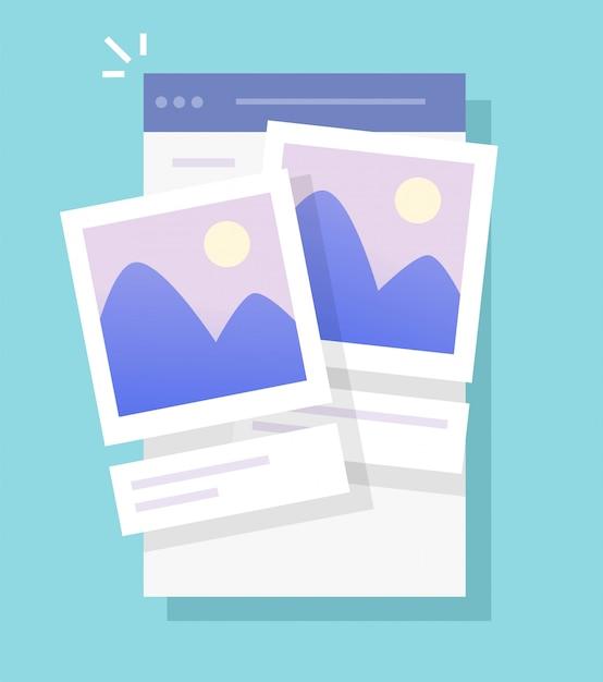 Arquivos de imagem de fotos e serviço online de aplicativo móvel de armazenamento de fotos para telefone ou software de galeria de álbuns de fotografia digital web para desenhos animados de smartphones Vetor Premium