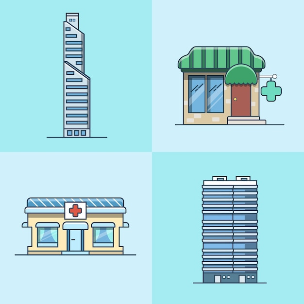 Arranha-céu escritório centro de negócios farmácia hospital arquitetura conjunto de edifícios. ícones de estilo simples de contorno de traço linear. coleção de ícones de cores. Vetor grátis