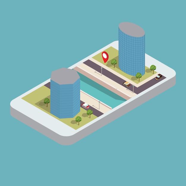 Arranha-céus isométricos na margem do rio com a estrada e o telefone. navegação gps móvel do smartphone. Vetor Premium