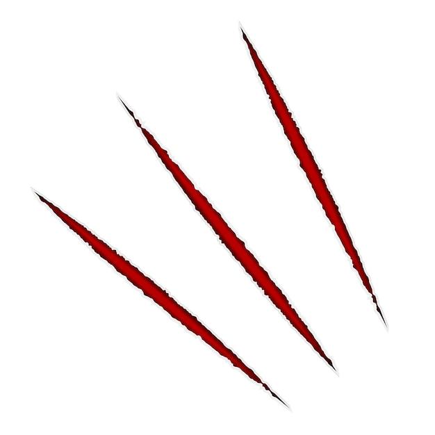 Arranhão de papel de vetor. isolado com vermelho. Vetor Premium