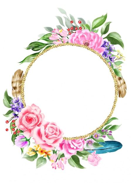 Arranjo boêmio aquarela com flor Vetor Premium