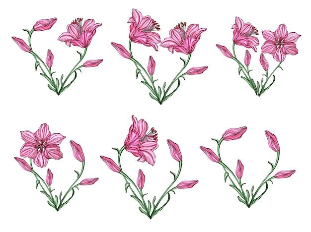 Arranjo de flor de forma de coração com lírios de flores Vetor Premium