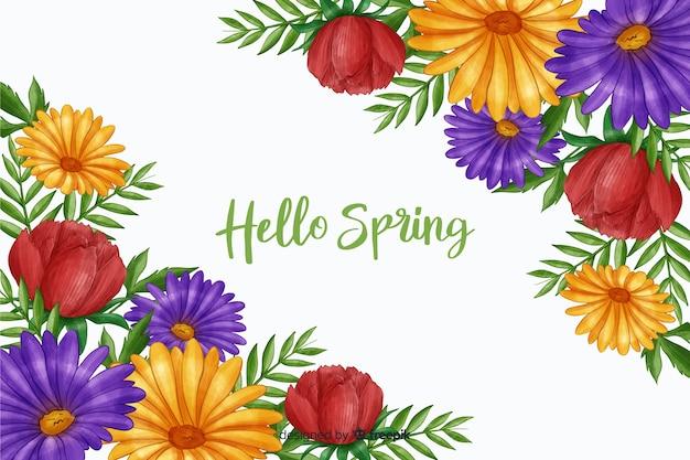 Arranjo de flores com oi citação de primavera Vetor grátis