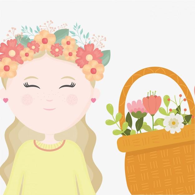 Arranjo De Flores Menina Na Cabeca Dos Desenhos Animados Vetor