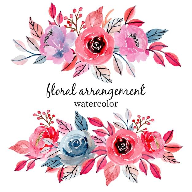 Arranjo floral do casamento da aguarela Vetor Premium