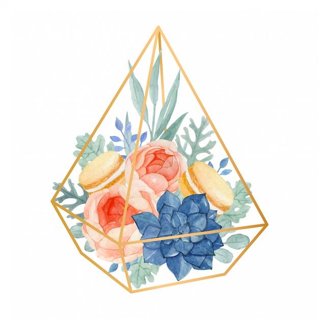 Arranjo floral em aquarela no terrário geométrico completo com rosa, eucalipto, moleiro empoeirado, suculenta e macaroons Vetor Premium