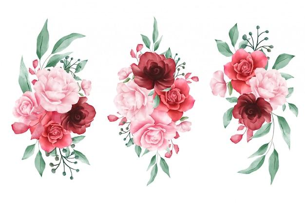 Arranjos de flores em aquarela para elementos de casamento ou cartões Vetor Premium