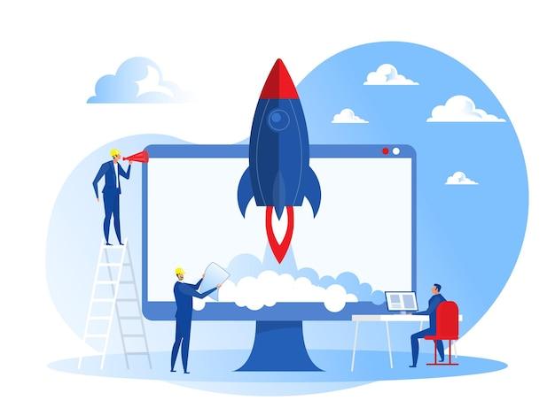 Arranque de projeto empresarial pessoas lançam conceito de foguete de nave espacial Vetor Premium