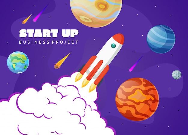 Arranque espaço conceito com foguetes e planetas. exploração espacial Vetor Premium