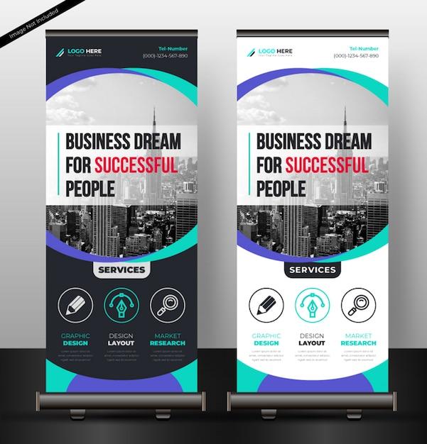 Arregaçar banner corporativo Vetor Premium