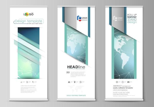 Arregaçar banner stands, panfletos verticais, bandeiras modelos de negócios. Vetor Premium