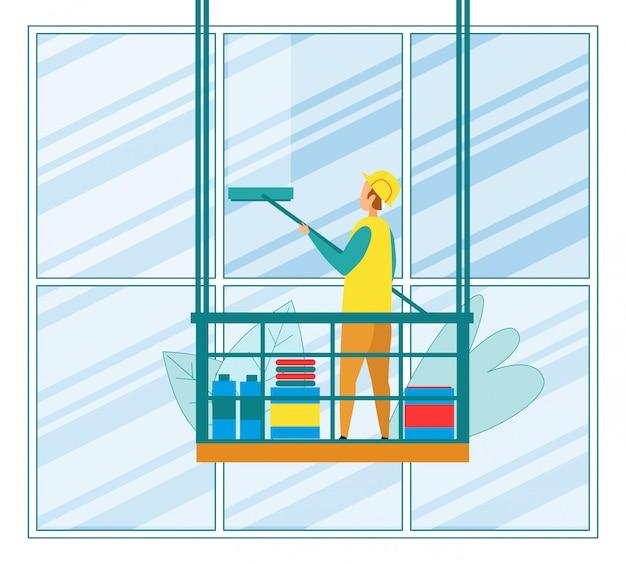 Arruela edifício alto escritório usando rodo Vetor Premium