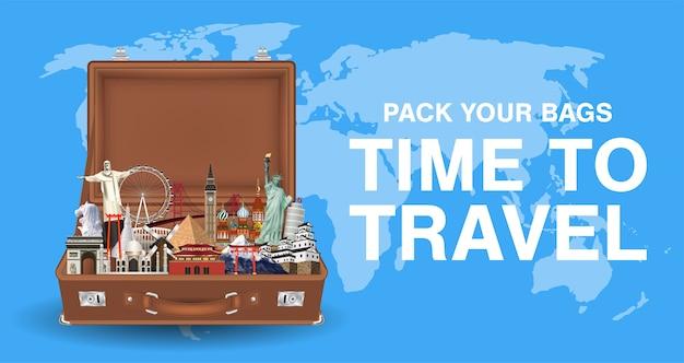 Arrumar suas malas tempo para viajar com o marco mundial Vetor Premium