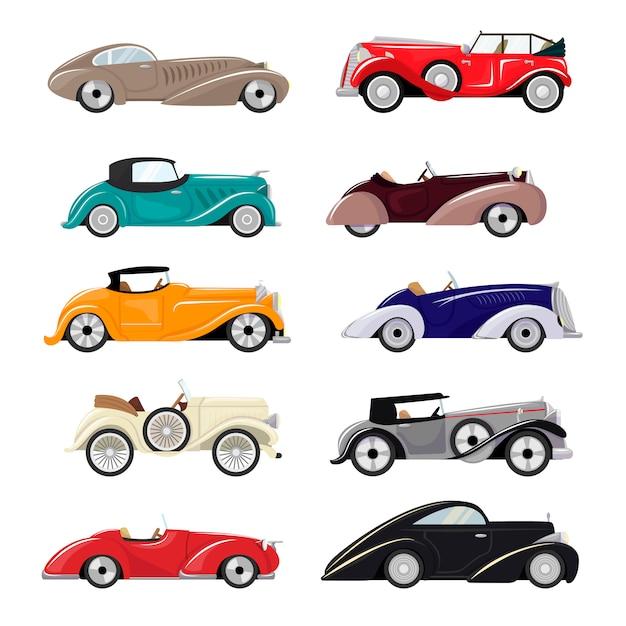Art deco carro retro luxo auto transporte e art-deco automóvel moderno conjunto de ilustração de velho veículo automotivo isolado citycar na ilustração de fundo branco Vetor Premium