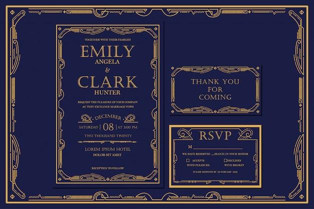 Art deco engagement / wedding marinha do convite com cor do ouro com quadro. classic navy vintage style premium. incluir tags de agradecimento e rsvp Vetor Premium