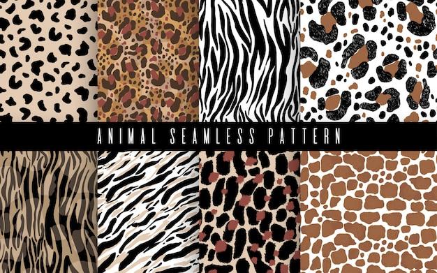 Arte ajustada do teste padrão do sumário animal sem emenda da pele. textura com pinceladas de cruzamento de pintados à mão para impressão. Vetor Premium