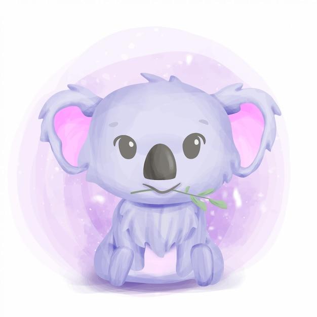 Arte bonito do berçário do koala do bebê Vetor Premium