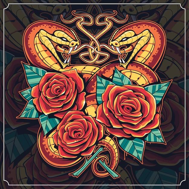 Arte cobras com rosas Vetor Premium
