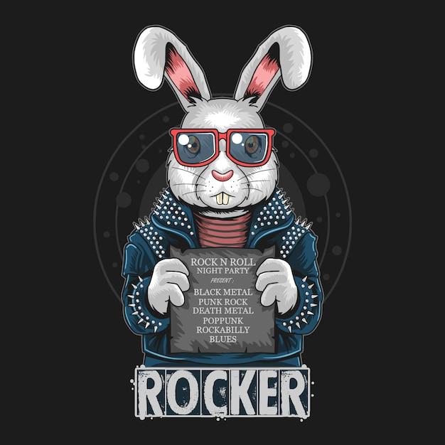 Arte coelho do coelho do rolo da rocha n Vetor Premium
