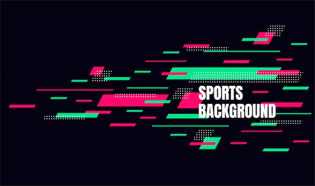 Arte colorida abstrata para o fundo dos esportes. partículas dinâmicas Vetor Premium
