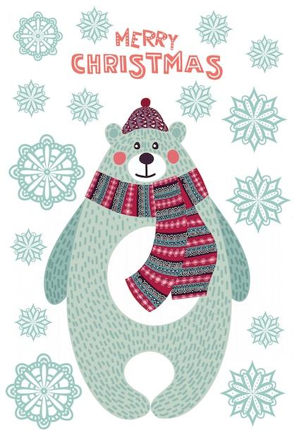 Arte colorida ilustração de natal com urso bonito dos desenhos animados e flocos de neve. Vetor Premium