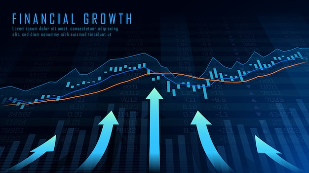 Arte conceitual de crescimento financeiro Vetor Premium