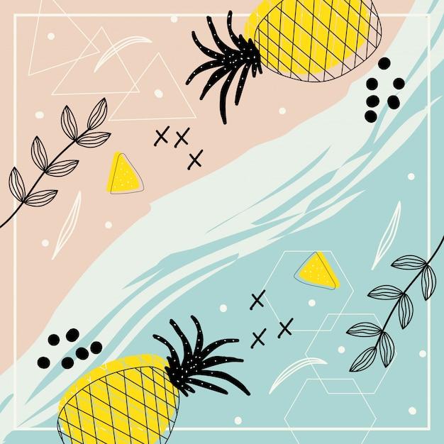 Arte contemporânea abstrata com flores e abacaxi para plano de fundo Vetor Premium