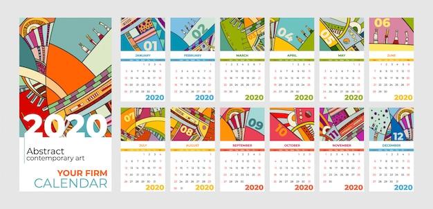 Arte contemporânea abstrata do calendário de 2020 Vetor Premium