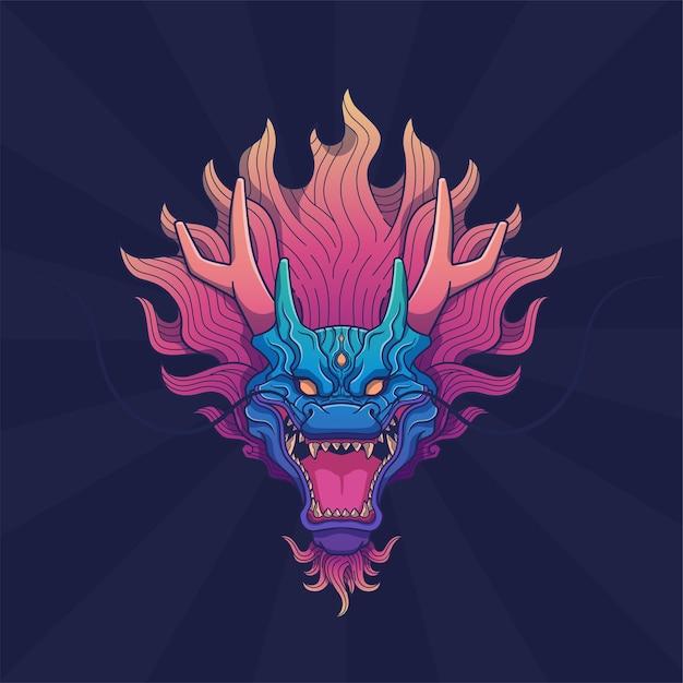 Arte da cabeça do dragão no fundo do feixe Vetor Premium