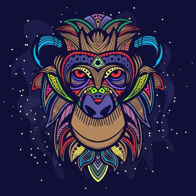 Arte da cabeça do macaco Vetor Premium