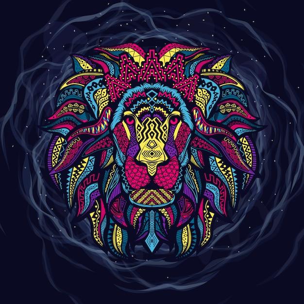 Arte de cabeça de leão colorido Vetor Premium
