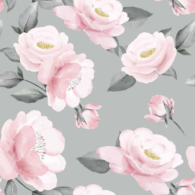 Arte de folha floral sem costura padrão buquê de rosa rosa hortaliças Vetor Premium