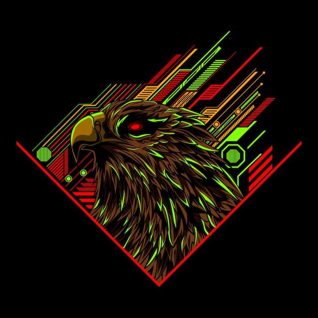 Arte de ilustração vetorial de cabeça de águia Vetor Premium