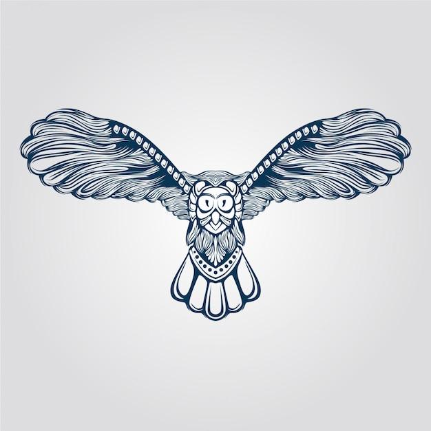 Arte de linha da coruja voadora Vetor Premium