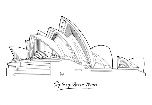 Arte de linha de arquitetura detalhada sydney opera house Vetor Premium