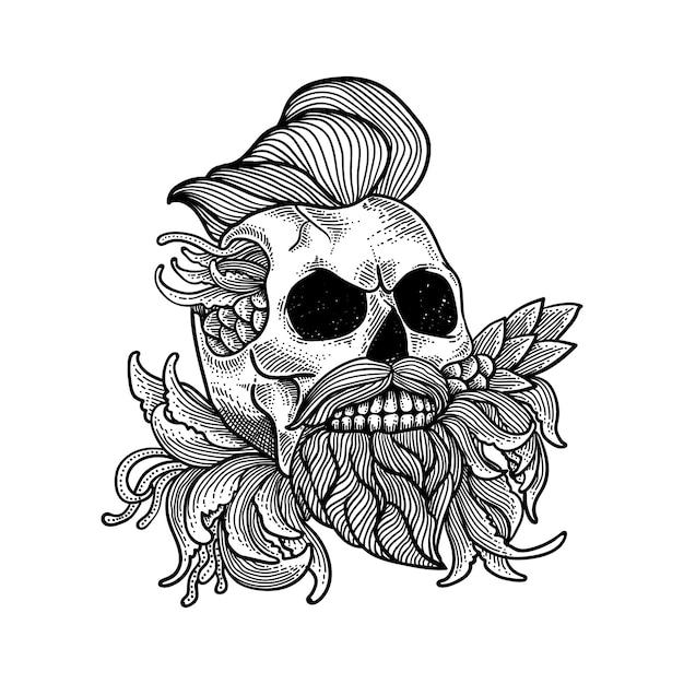 Arte de linha de arte de caveira para tatuagem et camiseta premium Vetor Premium