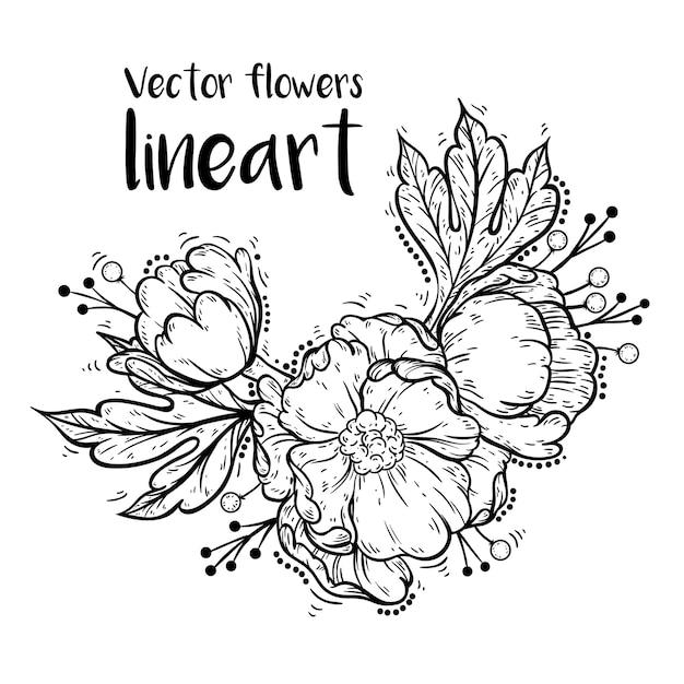 Arte de linha de flores Vetor Premium