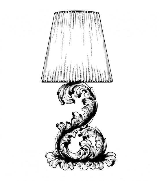 Arte de linha de lâmpada de mesa barroco de vetor Vetor Premium