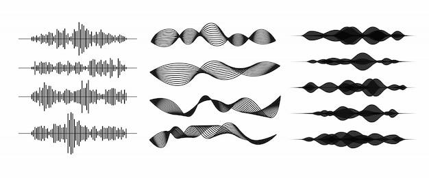 Arte de linha de ondas de som / áudio ou ondas sonoras para aplicativos e sites de música. ilustração em vetor forma onda isolada no fundo branco Vetor Premium