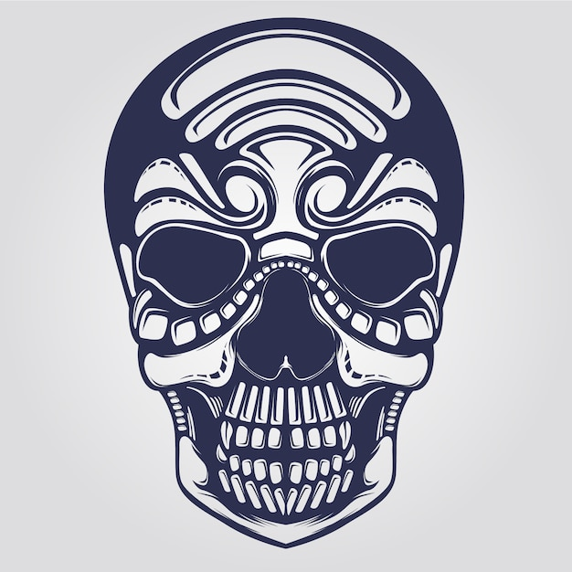 Arte de linha do crânio Vetor Premium