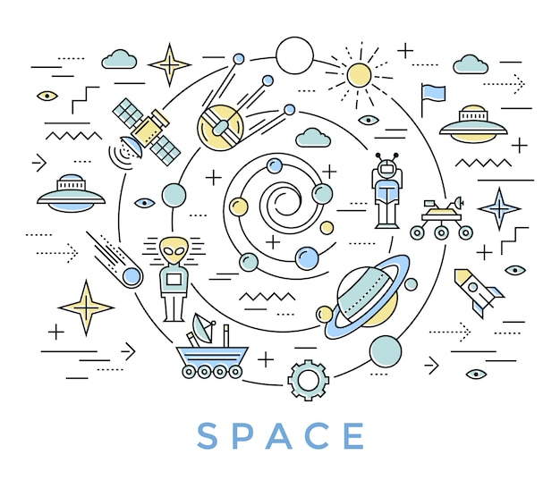 Arte de linha do espaço Vetor grátis