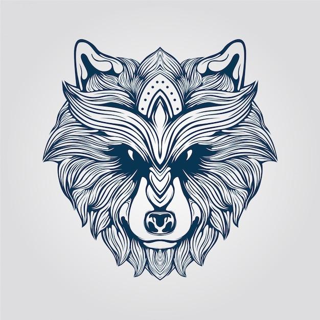 Arte de linha lobo peludo Vetor Premium