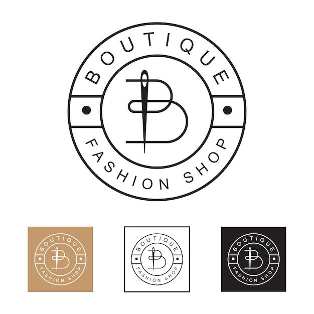 Arte de linha minimalista de luxo e minimalista logotipo de loja de moda boutique, letra inicial b com modelo de conceito de logotipo de agulha Vetor Premium