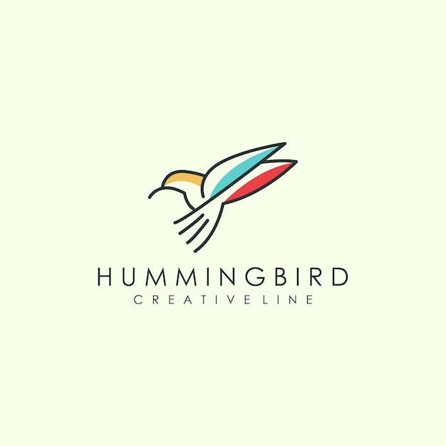 Arte de logotipo de pássaro de contorno Vetor Premium